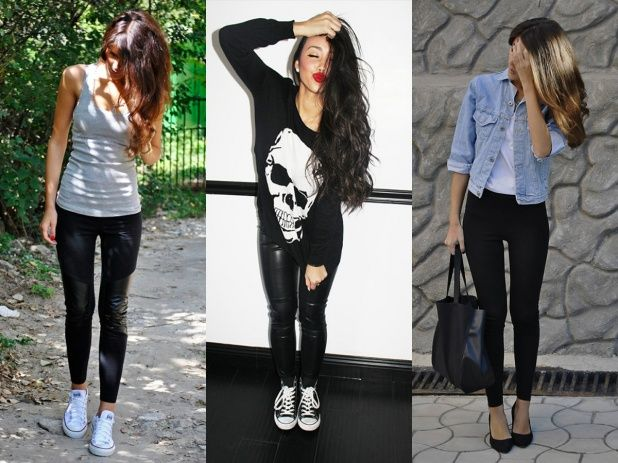 Леггинсы черные с чем одеть