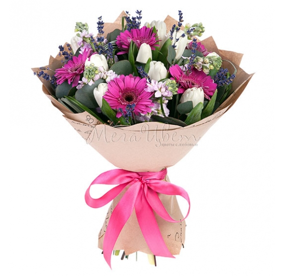 Герберы, тюльпаны и матиолы